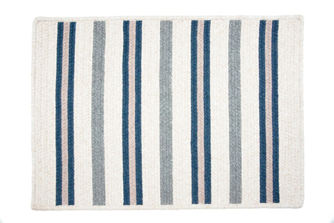 Alluring Rectangle Braided Wool Blend Rug, AL59 Polo Blue Stripes