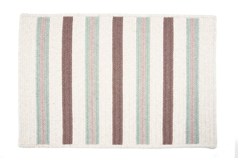Alluring Rectangle Braided Wool Blend Rug, AL69 Misted Green Stripes