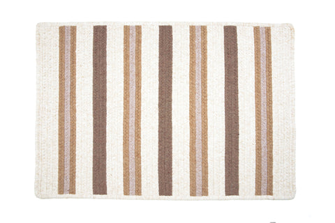 Alluring Rectangle Braided Wool Blend Rug, AL89 Haystack Stripes
