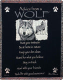 "Advice From A Wolf by Ilan Shamir Tapestry Throw 50""x60"""