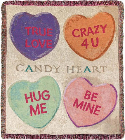 "Candy Hearts by Darren Gygi Tapestry Throw 50""x60"""