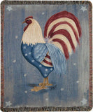 "Americana Rooster by Karen Strubel Tapestry Throw 50""x60"""