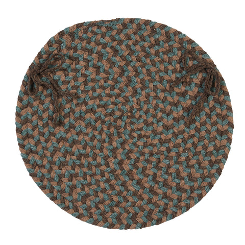 Boston Common Round Braided Chair Pad, BC54 Driftwood Teal