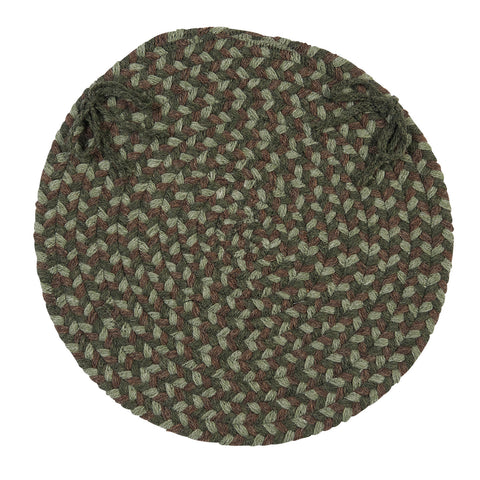 Boston Common Round Braided Chair Pad, BC63 Moss Green