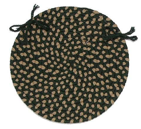 Brook Farm Indoor Outdoor Round Braided Chair Pad, BF62 Winter Green