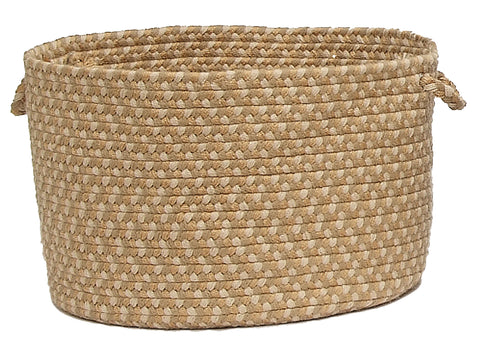 Brook Farm Indoor Outdoor Round Braided Basket, BF82 Tea Stained