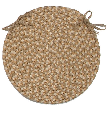 Brook Farm Indoor Outdoor Round Braided Chair Pad, BF82 Tea Stained