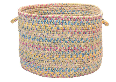 Tropical Garden Round Braided Basket, BI60 Kiwi
