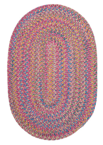 Tropical Garden Oval Braided Rug, BI70 Punch