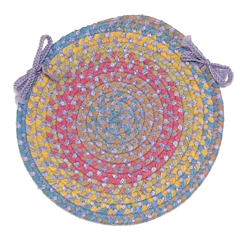 Tropical Garden Round Braided Chair Pad, BI90 Amethyst