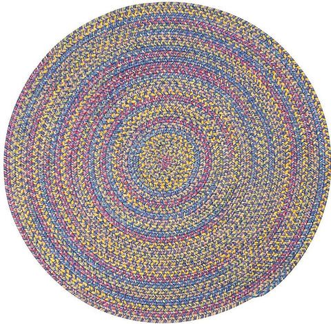 Tropical Garden Round Braided Rug, BI90 Amethyst