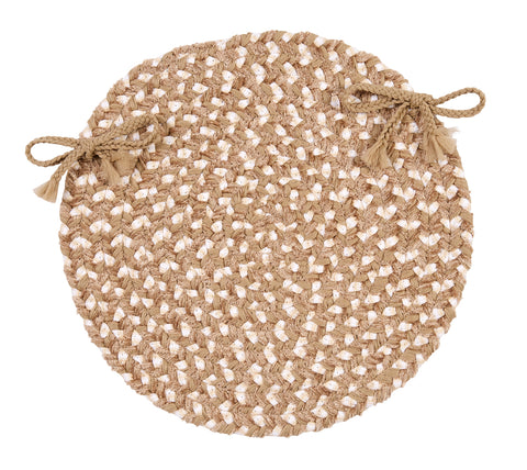Chenille Blend Round Braided Chair Pad, BK19 Natural Wonder