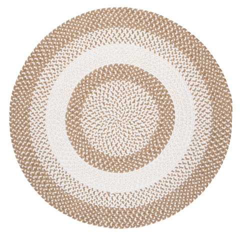 Chenille Blend Round Braided Rug, BK19 Natural Wonder