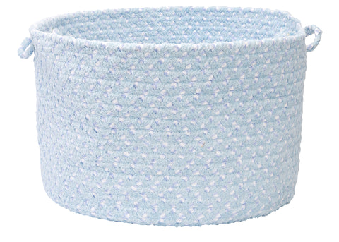 Chenille Blend Round Braided Utility Storage Basket, BK58 Sky Blue