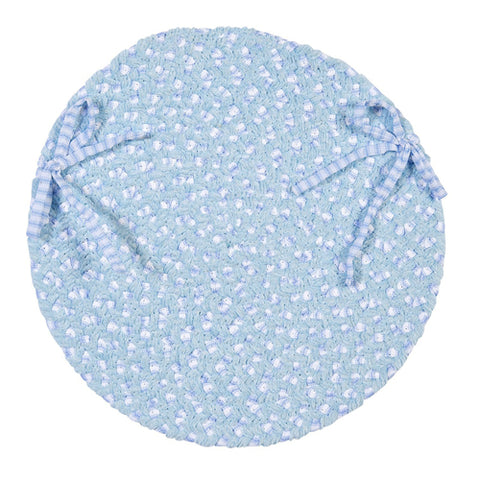 Chenille Blend Round Braided Chair Pad, BK58 Sky Blue