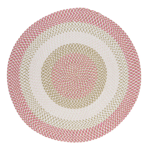 Chenille Blend Round Braided Rug, BK79 Tea Party Pink