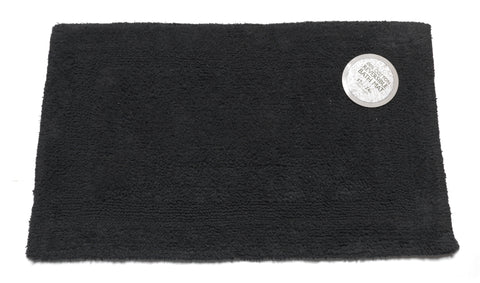 Black Reversible 100% Cotton Bathroom Rug in 2 Sizes