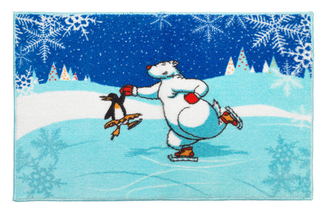 "Polar Bear and Penguin Ice Dancers Bathroom Rug with Non Skid Backing 19""x31"""