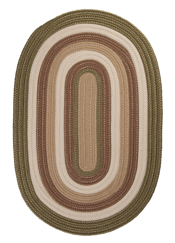 Brooklyn Indoor Outdoor Oval Braided Rug, BN69 Moss