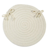 Boca Raton Indoor Outdoor Round Braided Chair Pad, BR10 White