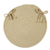 Boca Raton Indoor Outdoor Round Braided Chair Pad, BR12 Linen