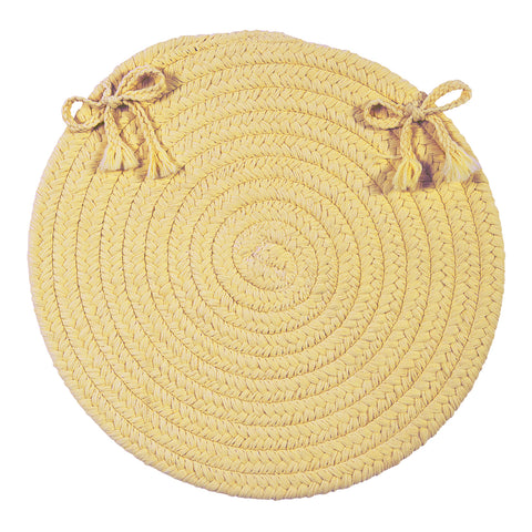 Boca Raton Indoor Outdoor Round Braided Chair Pad, BR34 Pale Banana