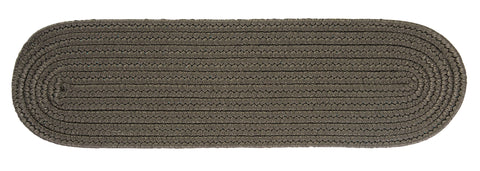 Boca Raton Indoor Outdoor Oval Braided Stair Tread, BR41 Gray