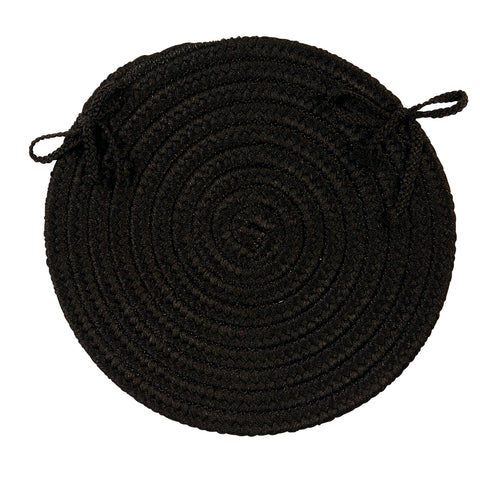 Boca Raton Indoor Outdoor Round Braided Chair Pad, BR42 Black