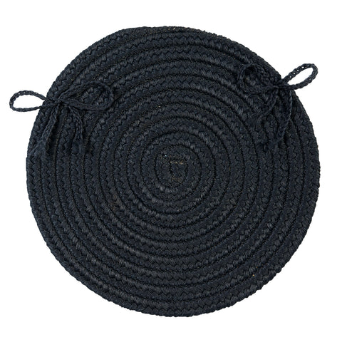 Boca Raton Indoor Outdoor Round Braided Chair Pad, BR52 Navy