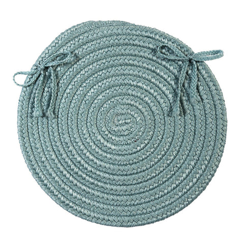 Boca Raton Indoor Outdoor Round Braided Chair Pad, BR54 Federal Blue