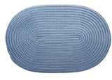 Boca Raton Indoor Outdoor Oval Braided Rug, BR55 Blue Ice
