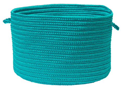 Boca Raton Indoor Outdoor Round Braided Basket, BR56 Turquoise