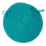 Boca Raton Indoor Outdoor Round Braided Chair Pad, BR56 Turquoise