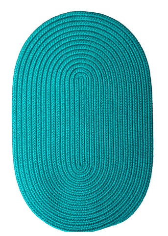 Boca Raton Indoor Outdoor Oval Braided Rug, BR56 Turquoise