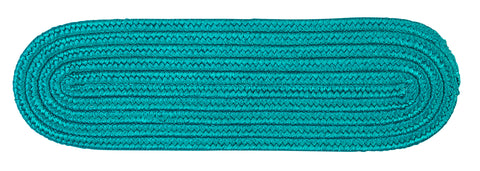 Boca Raton Indoor Outdoor Oval Braided Stair Tread, BR56 Turquoise