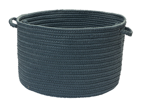 Boca Raton Indoor Outdoor Round Braided Basket, BR57 Lake Blue