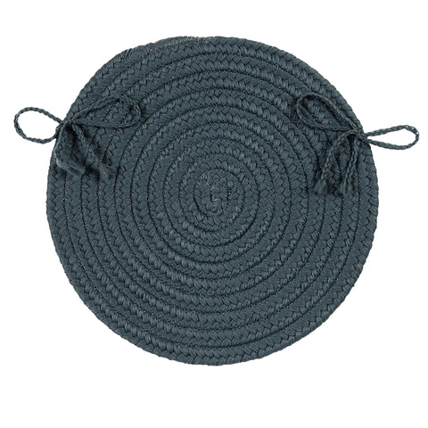 Boca Raton Indoor Outdoor Round Braided Chair Pad, BR57 Lake Blue