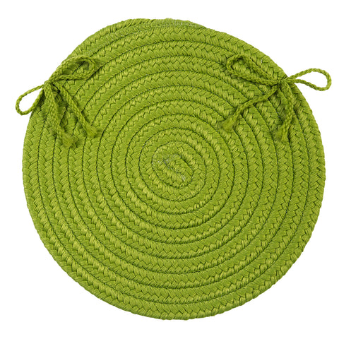 Boca Raton Indoor Outdoor Round Braided Chair Pad, BR65 Bright Green