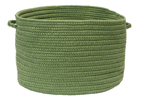 Boca Raton Indoor Outdoor Round Braided Basket, BR69 Moss Green