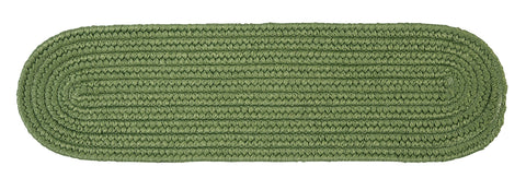 Boca Raton Indoor Outdoor Oval Braided Stair Tread, BR69 Moss Green
