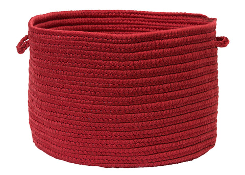 Boca Raton Indoor Outdoor Round Braided Basket, BR72 Sangria Red