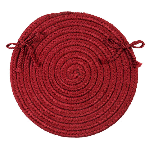 Boca Raton Indoor Outdoor Round Braided Chair Pad, BR72 Sangria Red