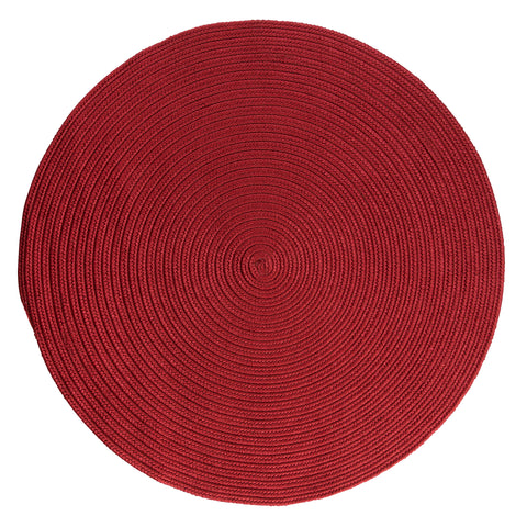 Boca Raton Indoor Outdoor Round Braided Rug, BR72 Sangria Red