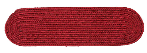 Boca Raton Indoor Outdoor Oval Braided Stair Tread, BR72 Sangria Red