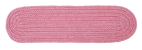 Boca Raton Indoor Outdoor Oval Braided Stair Tread, BR76 Camerum Pink