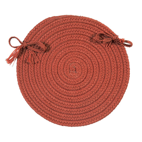Boca Raton Indoor Outdoor Round Braided Chair Pad, BR78 Terracotta