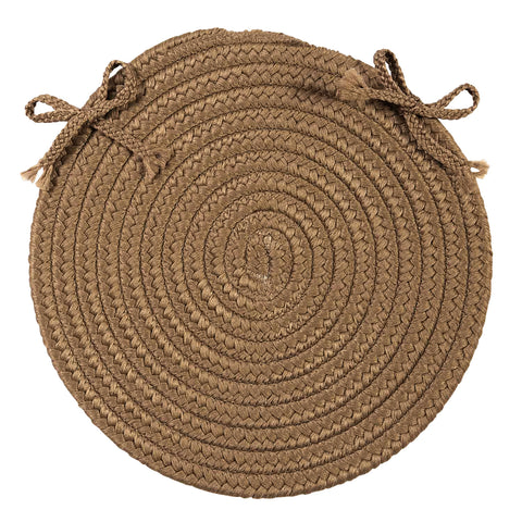 Boca Raton Indoor Outdoor Round Braided Chair Pad, BR83 Cashew