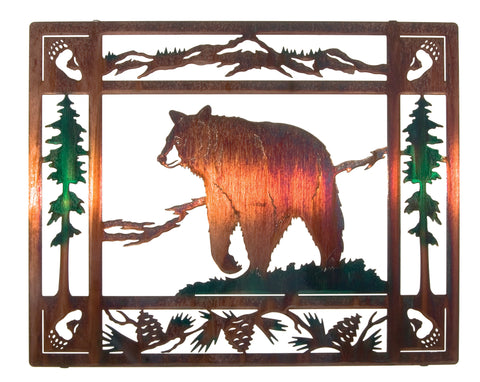 Bruin Bear Framed Scenes Metal Wall Art, Color Wash Finish