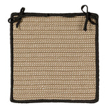 Boat House Indoor Outdoor Braided Square Chair Pad, BT19 Tan with Black Border