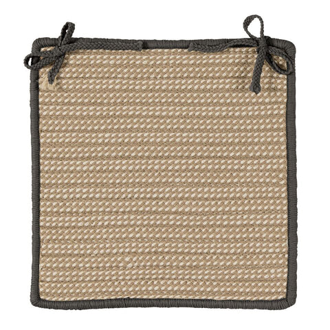 Boat House Indoor Outdoor Square Braided Chair Pad, BT29 Tan & Gray